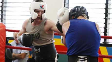 Jeff Horn sparring ahead of the Anthony Mundine fight. Picture: Nigel Hallett