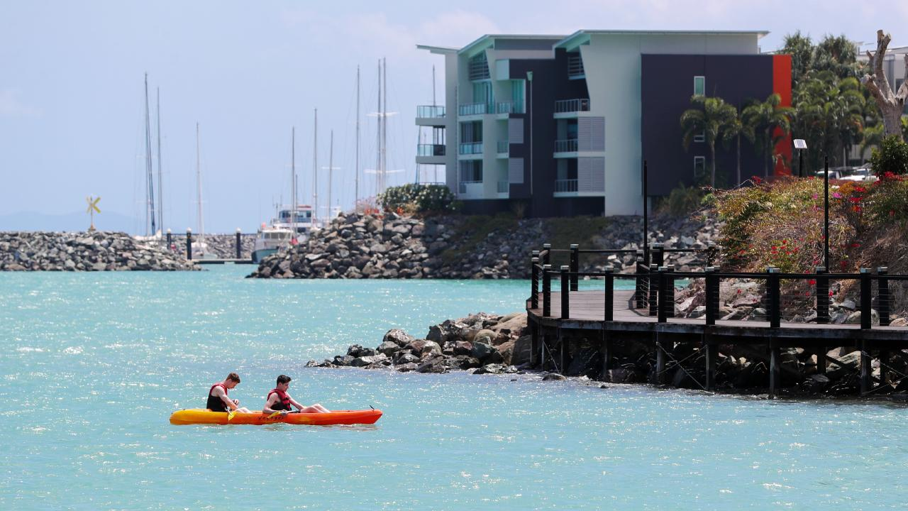 People on the water at Airlie Beach yesterday. Picture: Nigel Hallett