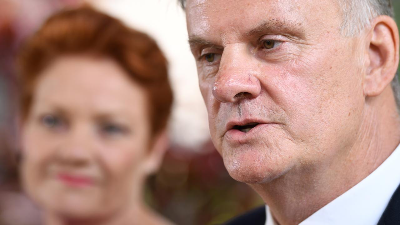 One Nation party leader Pauline Hanson (left) and One Nation candidate and state leader for NSW Mark Latham. Picture: AAP/Joel Carrett