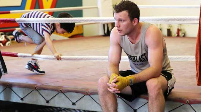 Jeff Horn training ahead of the Anthony Mundine fight. Picture: Nigel Hallett