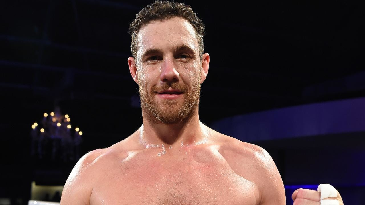 Shane Mumford after winning his debut bout. Picture: Lawrence Pinder