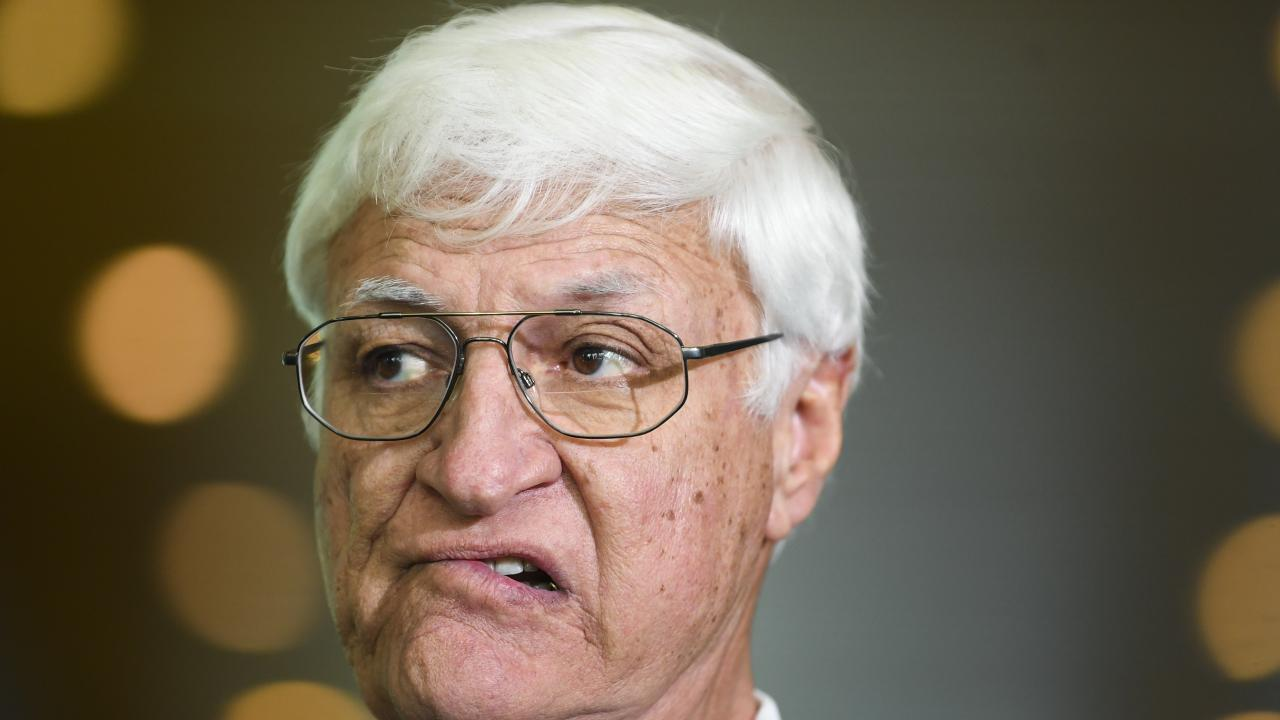Bob Katter speaks to the media during a press conference at Parliament House in Canberra. Picture: AAP/Lukas Coch