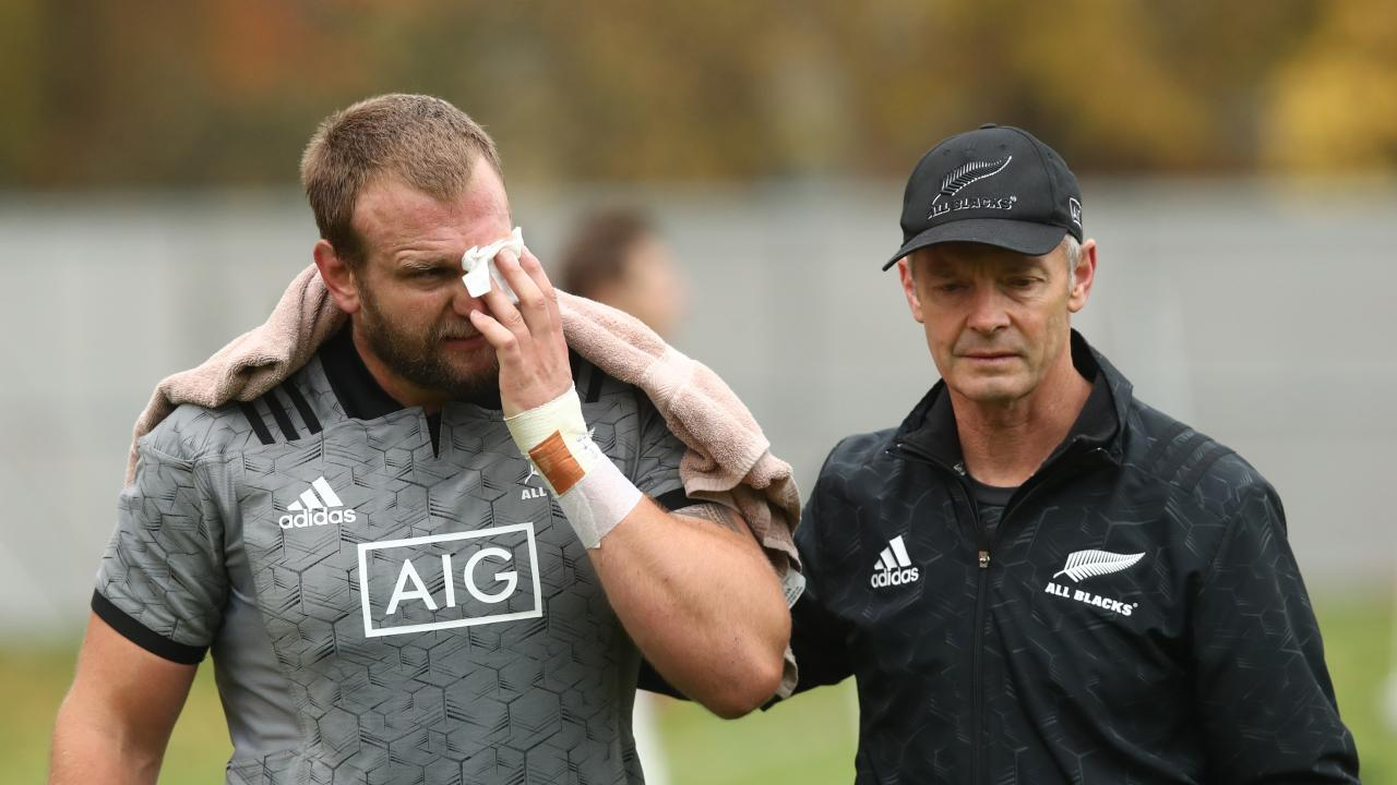 Joe Moody was assisted by the All Blacks' doctor after he tore his eyelid.