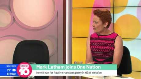 Mark Latham was a no-show on Studio 10. Pauline appeared next to an empty seat.