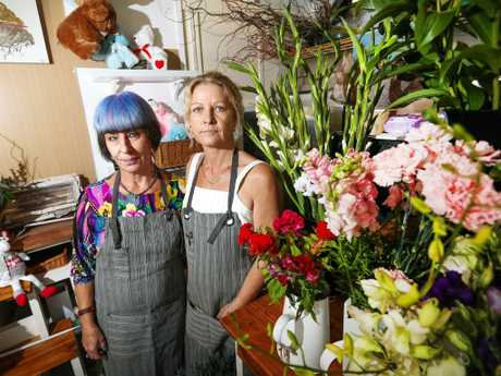 Su Desmond and Karen Hill of Karen Hill Floral Design fear the impact of shark attacks on local businesses. Picture: Nigel Hallett