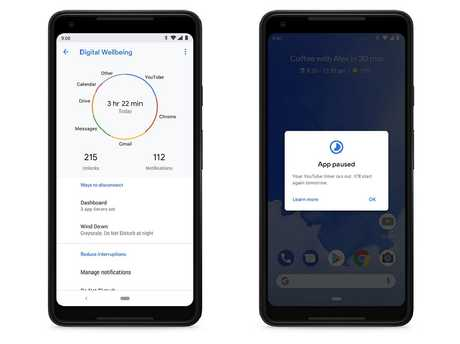 Tough love: The Pixel 3 can activate timers on your app use to cut down on that aimless scrolling.