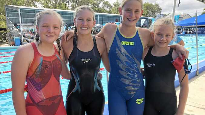 CANNONS: Tegan Hanks, Eden Hedges, Mikhaila Flint and Kimba-Lee Simmonds at the Whitsunday Carnival last weekend.