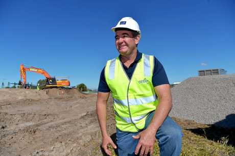 Construction is underway for the multi-million dollar sports and recreation hub at Bokarina.Brothers Rugby Club chairman Clayton Williams at the site.