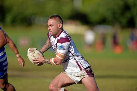 Kawana against Beerwah rugby league match. Kawana's hooker Danny Kerr looks for space.
