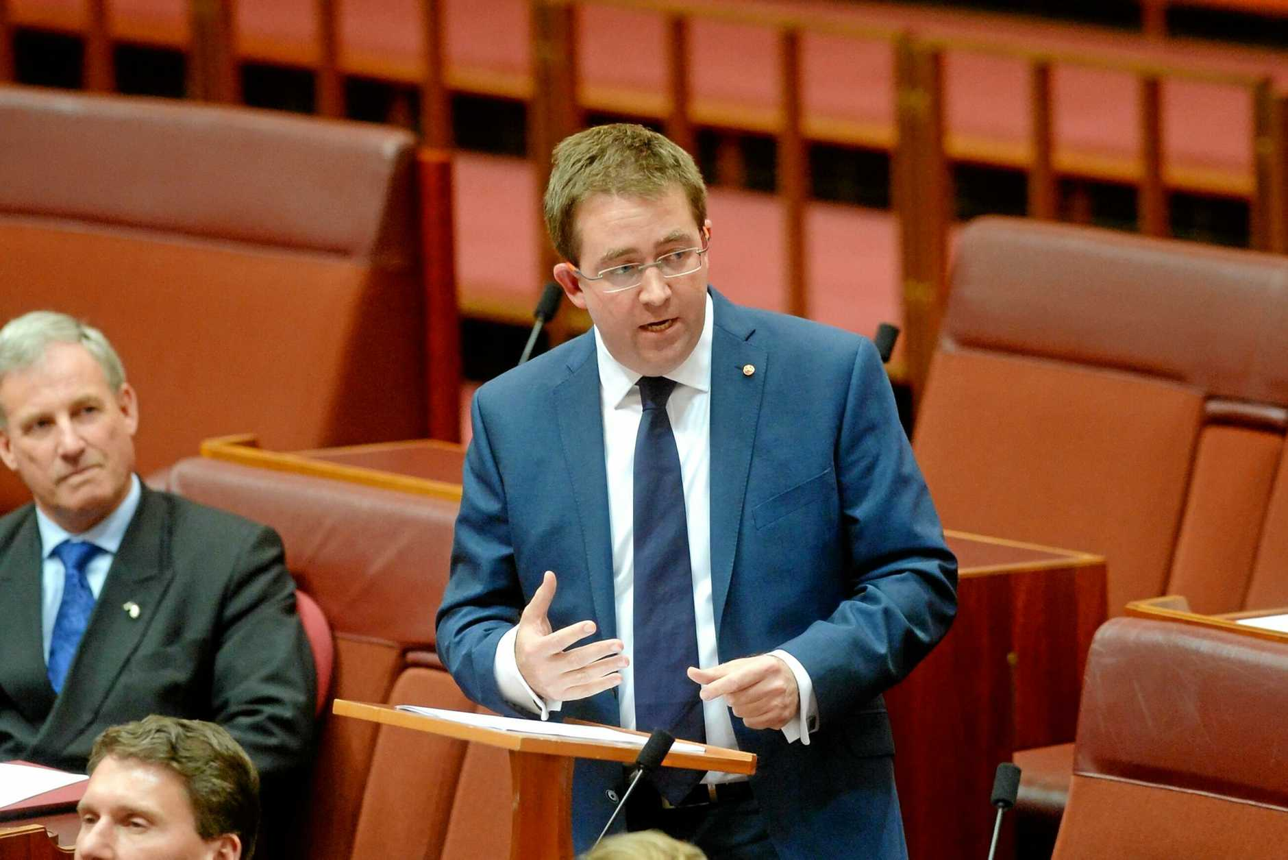 Liberal Party Senator James McGrath in 2014 delivering his maiden speech to the Senate at Parliament House Canberra.
