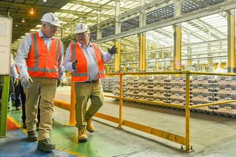 Australian Prime Minister Scott Morrison, pictured with member for Flynn Ken O'Dowd met with workers at Boyne Smelters Limited during his visit to Gladstone as part of his state-wide tour up the Queensland Coast on November 7, 2018.