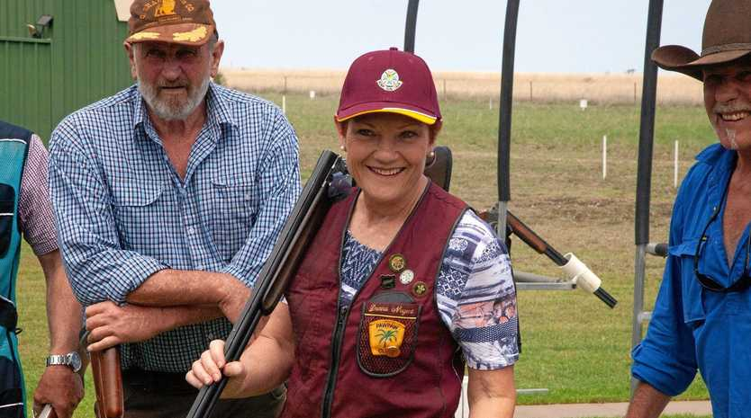 STRAIGHT SHOOTER: Senator Pauline Hanson attended a clay target charity event in Roma, where she spoke to locals about their troubles caused by the drought.