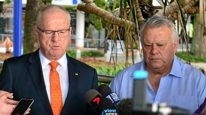 Mayor Mark Jamieson and Cr John Connolly address a press conference in July after the Abacus Group deal for the Brisbane Road carpark redevelopment failed.
