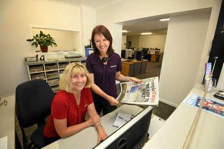 Jo Salmon and Sharon Turner at the front counter in the Gympie Times Office.