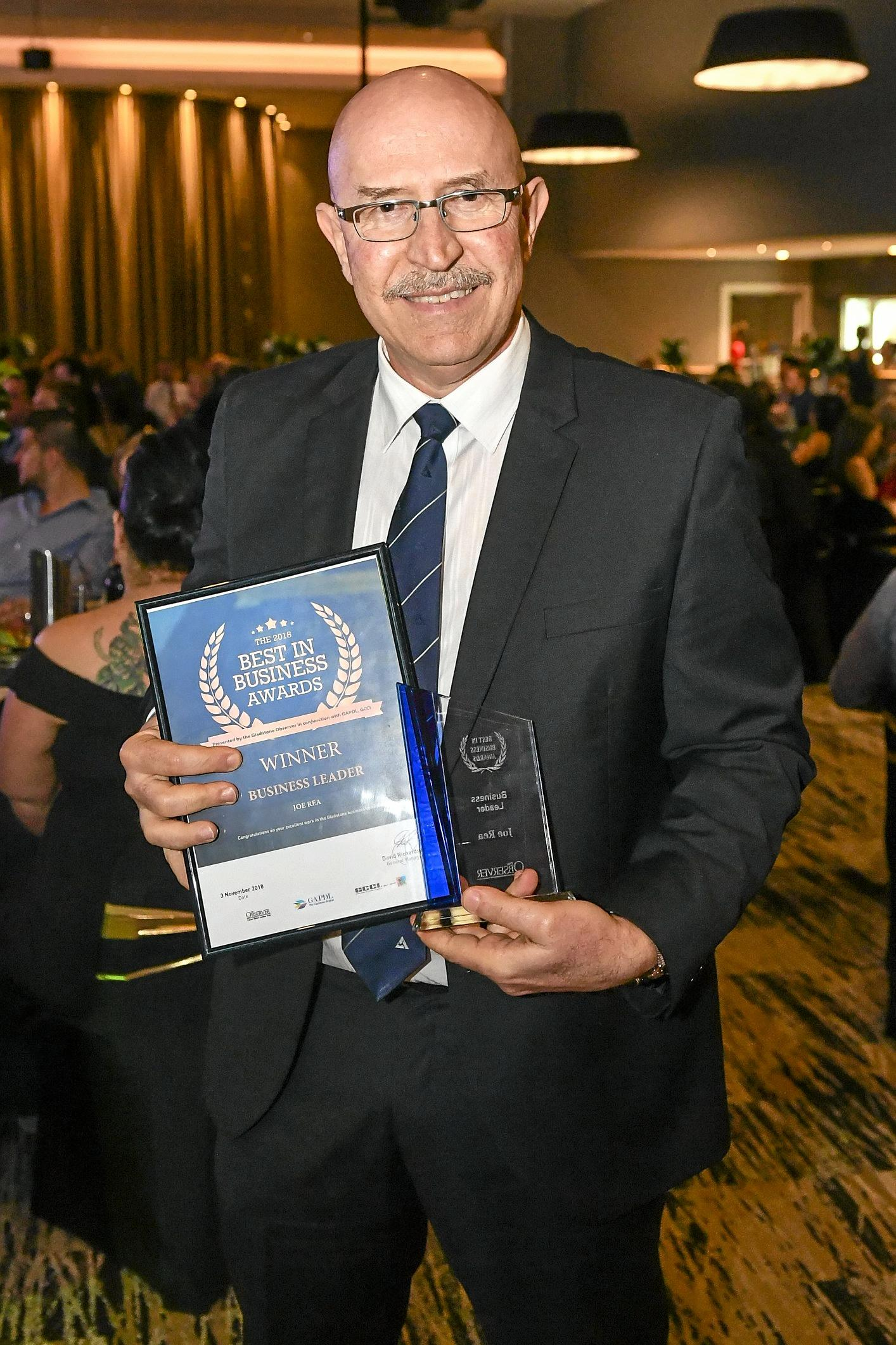 LEADING THE WAY: Boyne Smelters Limited general manager Joe Rea won the Business Leader Award, with BSL taking out the Innovation Award.