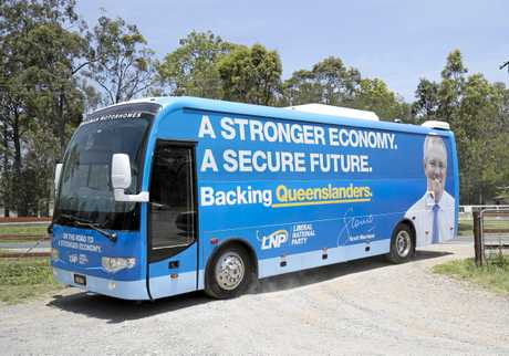Australia's Prime Minister Scott Morrison's campaign bus is seen during a visit to a strawberry farm in Chambers Flat in southeast Queensland, Monday, November 5, 2018.
