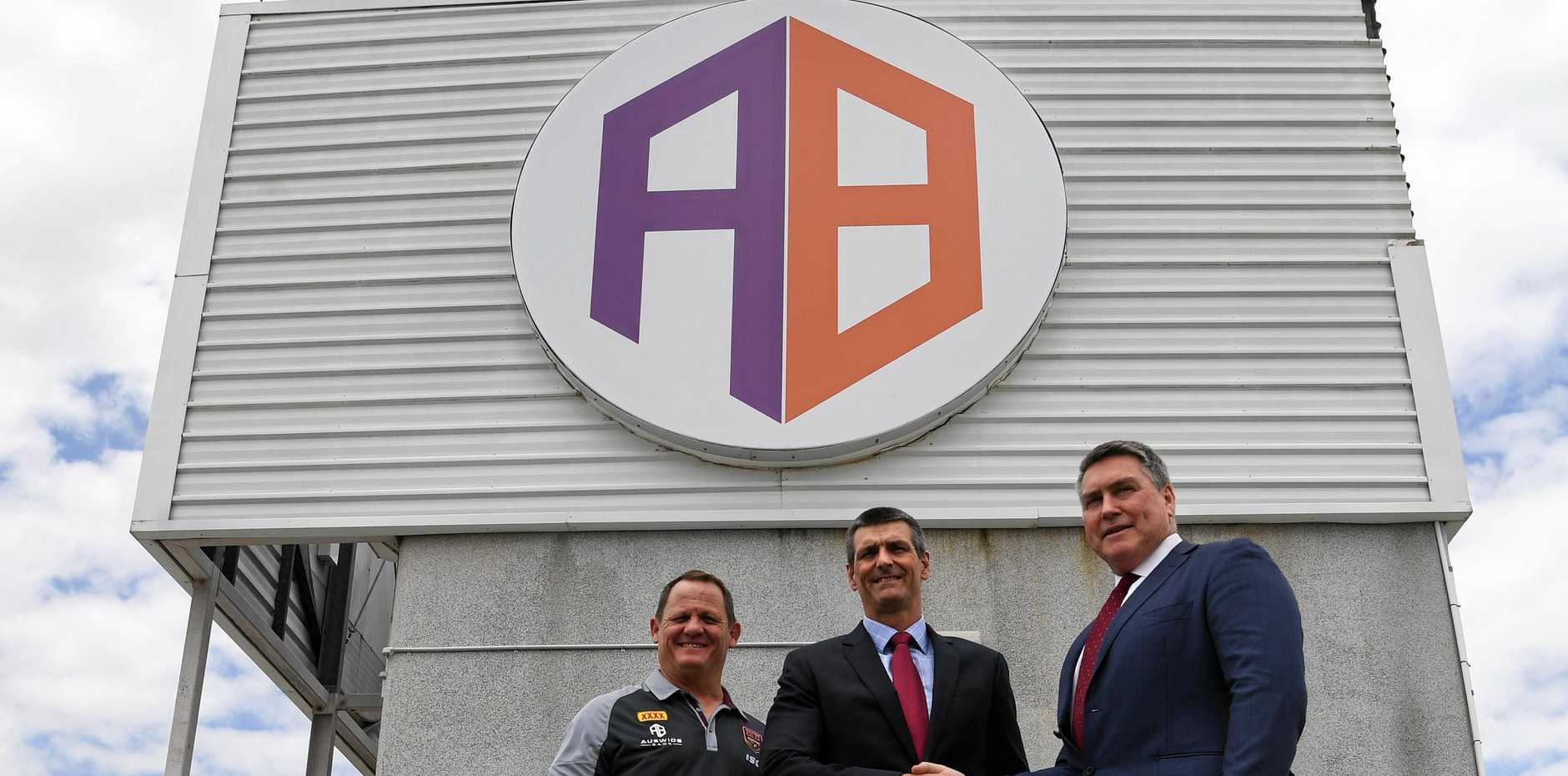 Queensland Maroons coach Kevin Walters, Auswide Banks Martin Barrett and QRL managing director Robert Moore.
