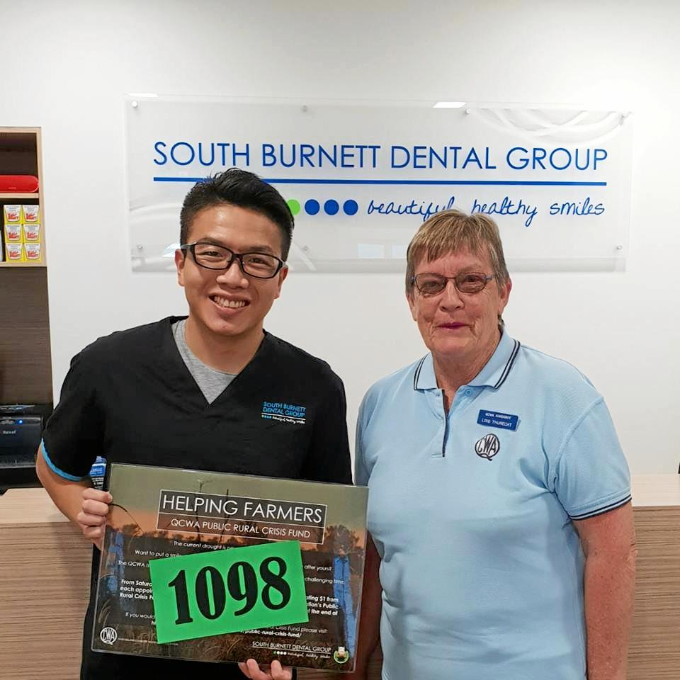Dr Ken Chen and his team at the South Burnett Dental Group raises a total of $2196 for drought relief in the region