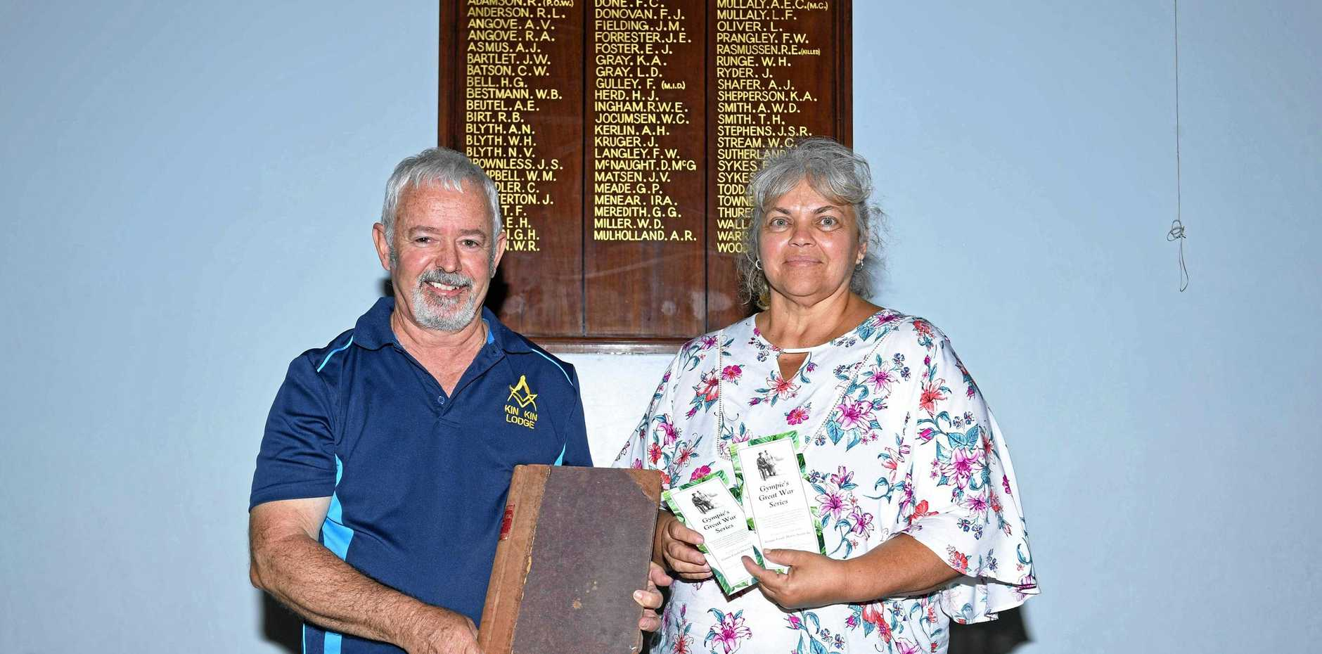REMEMBERING: Wayne Smith and Di Woodstock at the Gympie Freemasons Centre, which will host Remembrance Day events today.