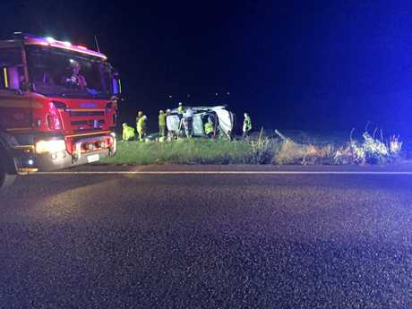 SHOCKING SCENE: Police are urging all motorists to take care on the roads after four people - including two teenagers - were freed from a badly-damaged sedan on the Drayton Connection Rd at Cambooya on Thursday night.