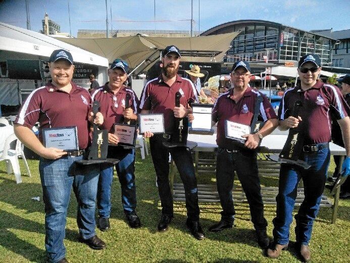 WINNERS: The Queensland butchery team, made up of (from left) Christian Nicholls (Highfields), Tony Morgan (Toowoomba), Byron Allsopp (Toowoomba), Gary Thompson (Brisbane) and Codey Emes (Toowoomba), took first place in the State Butchery Challenge in Sydney at the weekend.