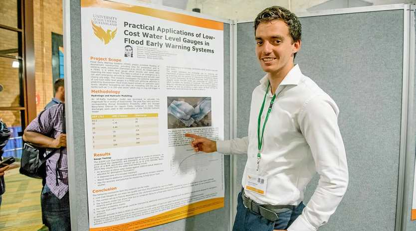 SCIENCE BEHIND THE SYSTEM: Mitchell Redenbach presenting his work at the Queensland Water Symposium earlier this year.