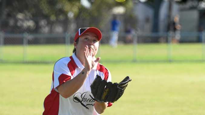 Maryborough Softball - A grade ladies Terrors v Incas Mercury - Melissa Cornwell takes a catch.