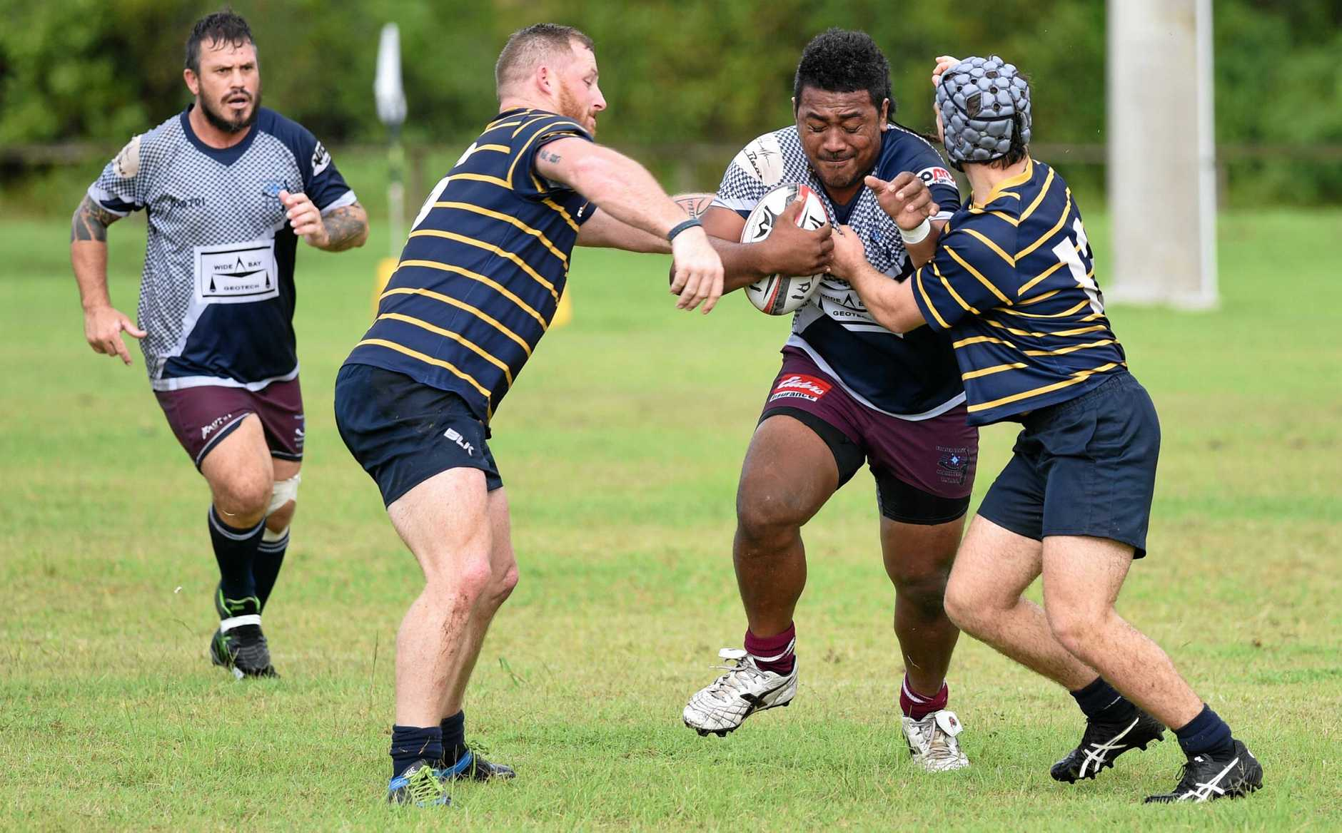 BATTLE: Apaiata Lokotui takes on the Gympie defence during a game early in 2018.