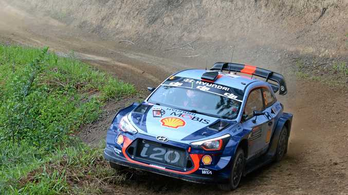 Reigning Rally Australia champion Hyundai driver Thierry Neuville in action at Kennards Hire Rally Australia in 2017.