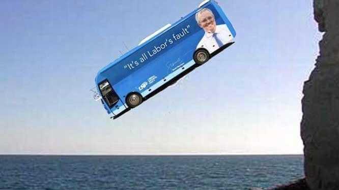 BUS CRASH: Memes about Scott Morrison's big blue bus are going viral.
