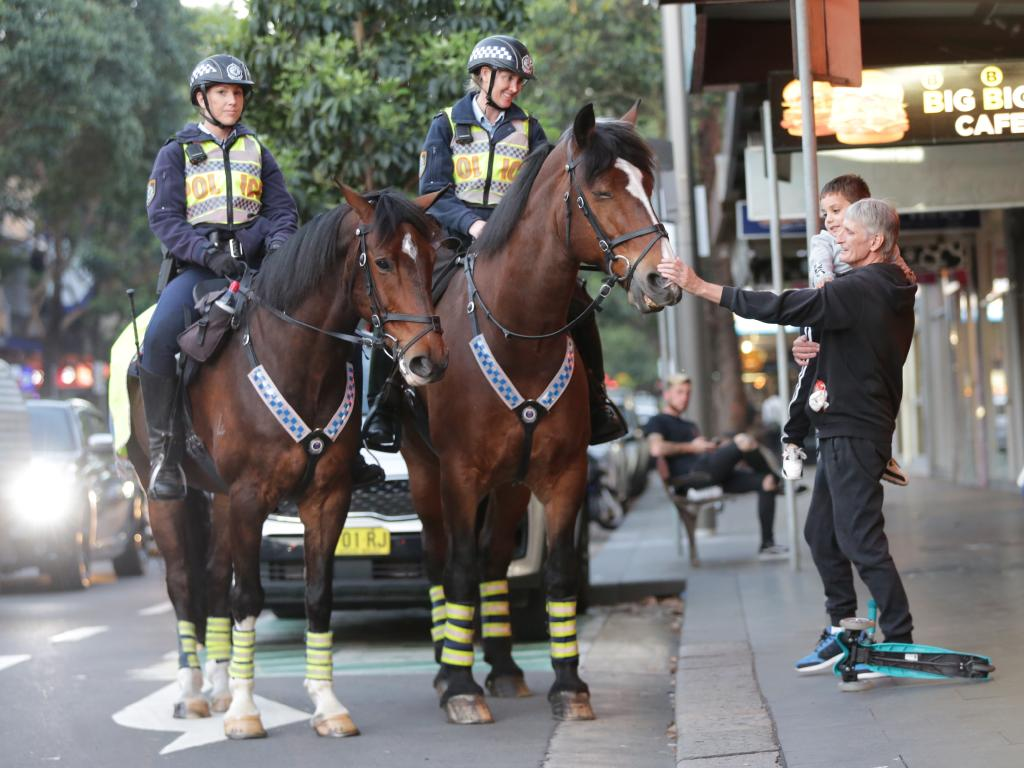 """""""People who wouldn't talk to a police officer will pat a police horse so they can break down barriers."""" Picture: Christian Gilles"""