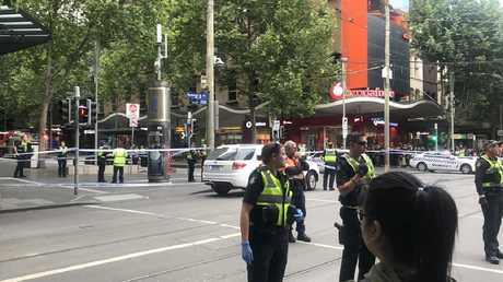 Police at the scene in the Bourke St Mall. Picture: @gemmacaf/Twitter