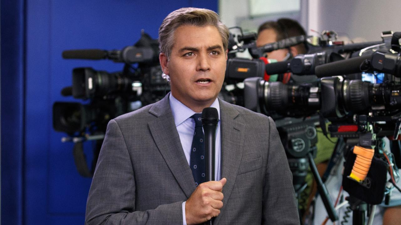 CNN correspondent Jim Acosta does a stand up before the daily press briefing at the White House in Washington. Picture: AP