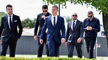 Mourners head to Colin Sylvia's funeral. Picture: Jay Town