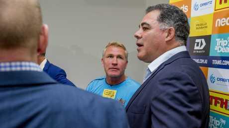 Garth Brennan and Mal Meninga together after Meninga's press conference.
