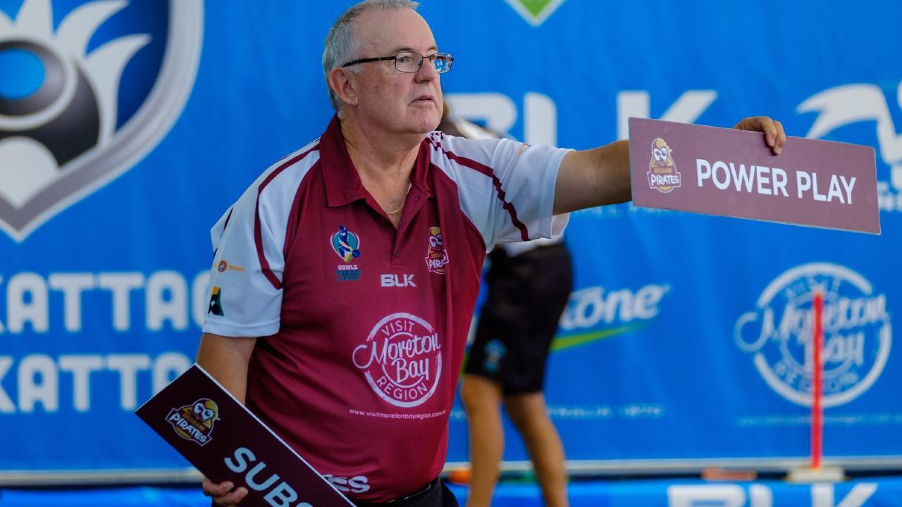 Visit Moreton Bay Brisbane Pirates coach Dave Edwards at the Bowls Premier League tournament in 2017. Photo: Bowls Australia.