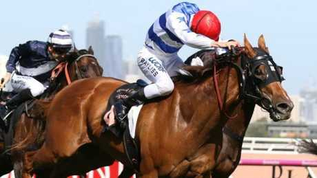 Redkirk Warrior wins the Black Caviar Lightning Stakes down the Flemington straight.