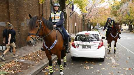 Mounted police patrol in pairs. Picture: Rohan Kelly