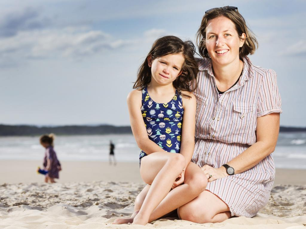 Tully Staines, 7, quit sucking her thumb of her own free will when she was six, pictured with mum Alecia at Noosa. Picture: Lachie Millard