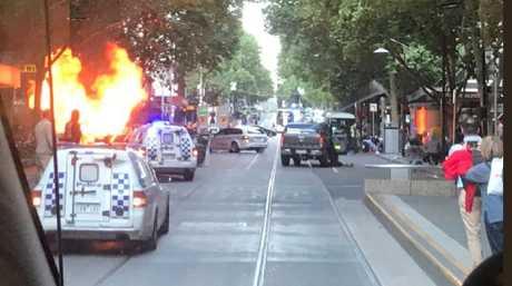 Car on fire in Bourke St Mall. Source: @Meegslouise
