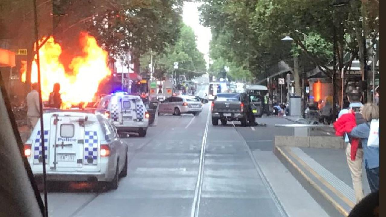 Car on fire in Bourke St Mall. Source: @Meegslouise