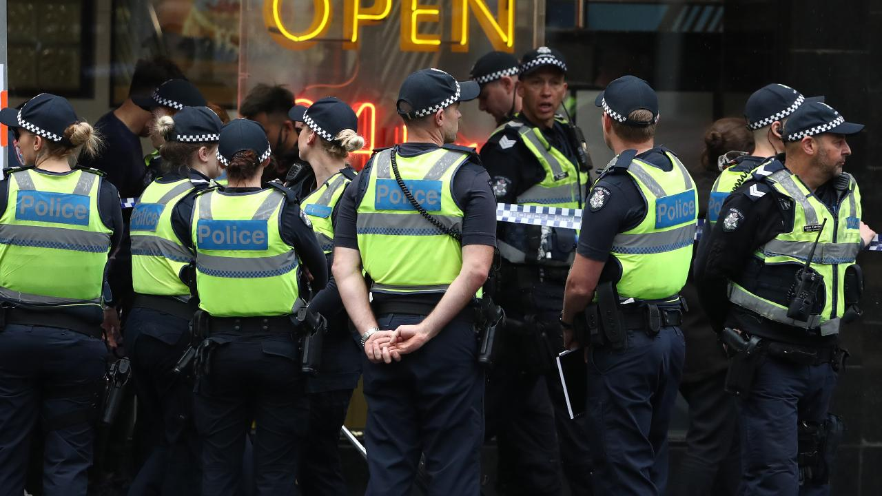 A swarm of police officers in the CBD. Picture: Robert Cianflone/Getty Images