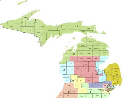 The division of Michigan by state.