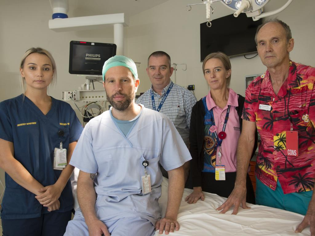 (From left) Mackay Base Hospital ED nurse Amy Takagaki, anaesthetic consultant Dr Marcelo Kanczuk, ICU director Dr Stuart Baker, social worker Tracy Good and ED senior medical officer Dr Andrew Giles. Picture: Daryl Wright