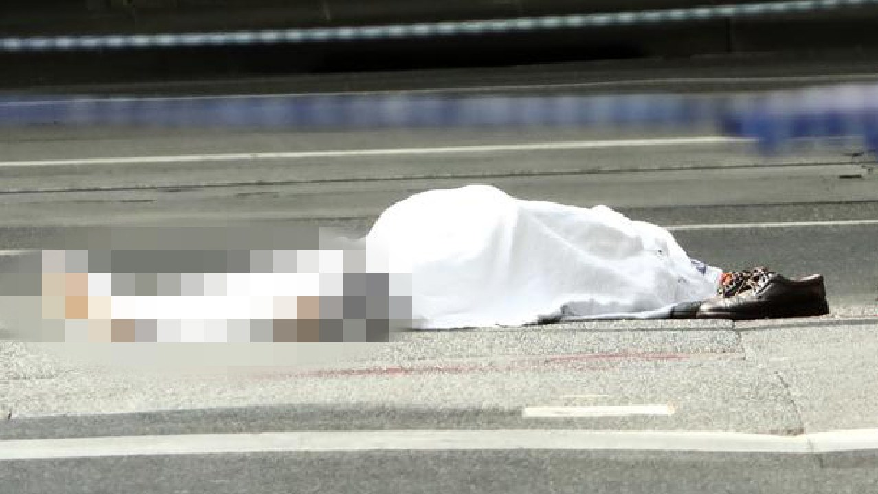 A man's body lies on the street after the terror attack. Picture: Robert Cianflone/Getty Images