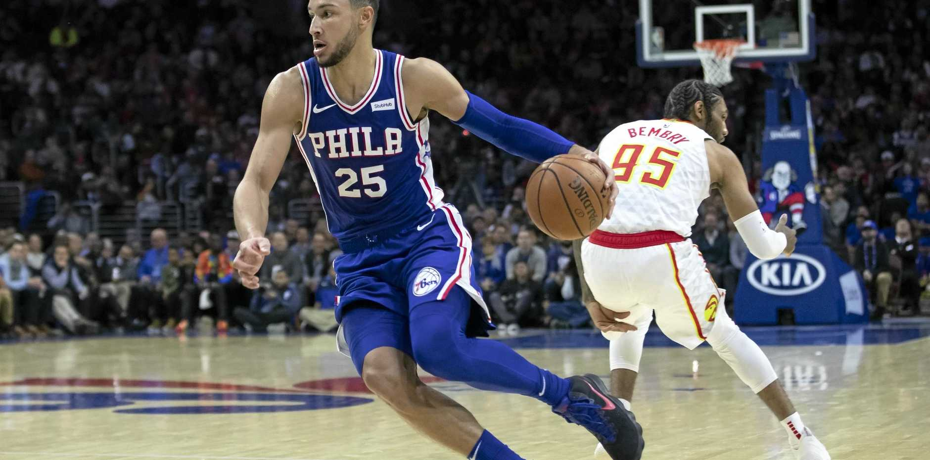 The Philadelphia 76ers' Ben Simmons is poised to help develop the game in Australia. Picture: Chris Szagola/AP