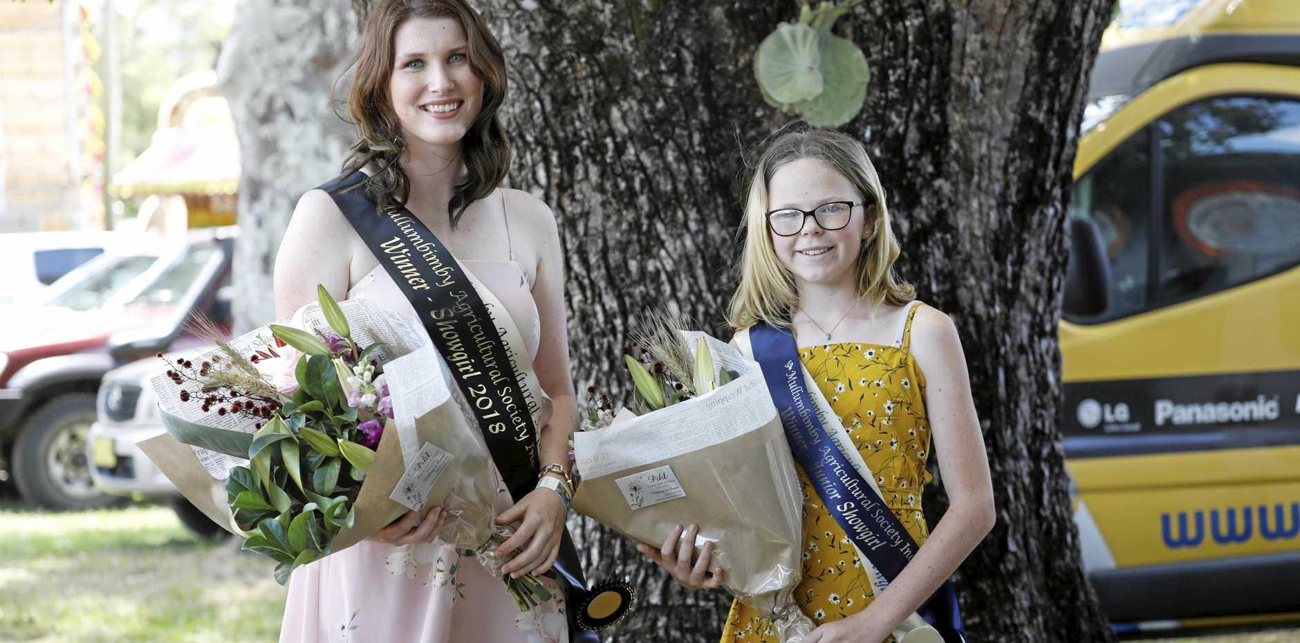 2018 Mullumbimby Agricultural Show senior showgirl Ashleigh Hartley, 19, and junior show ambassador Eva Brooke, 13.