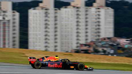 Daniel Ricciardo drives his Aston Martin Red Bull Racing RB14 TAG Heuer during practice for the Brazilian Grand Prix. Picture: Getty Images
