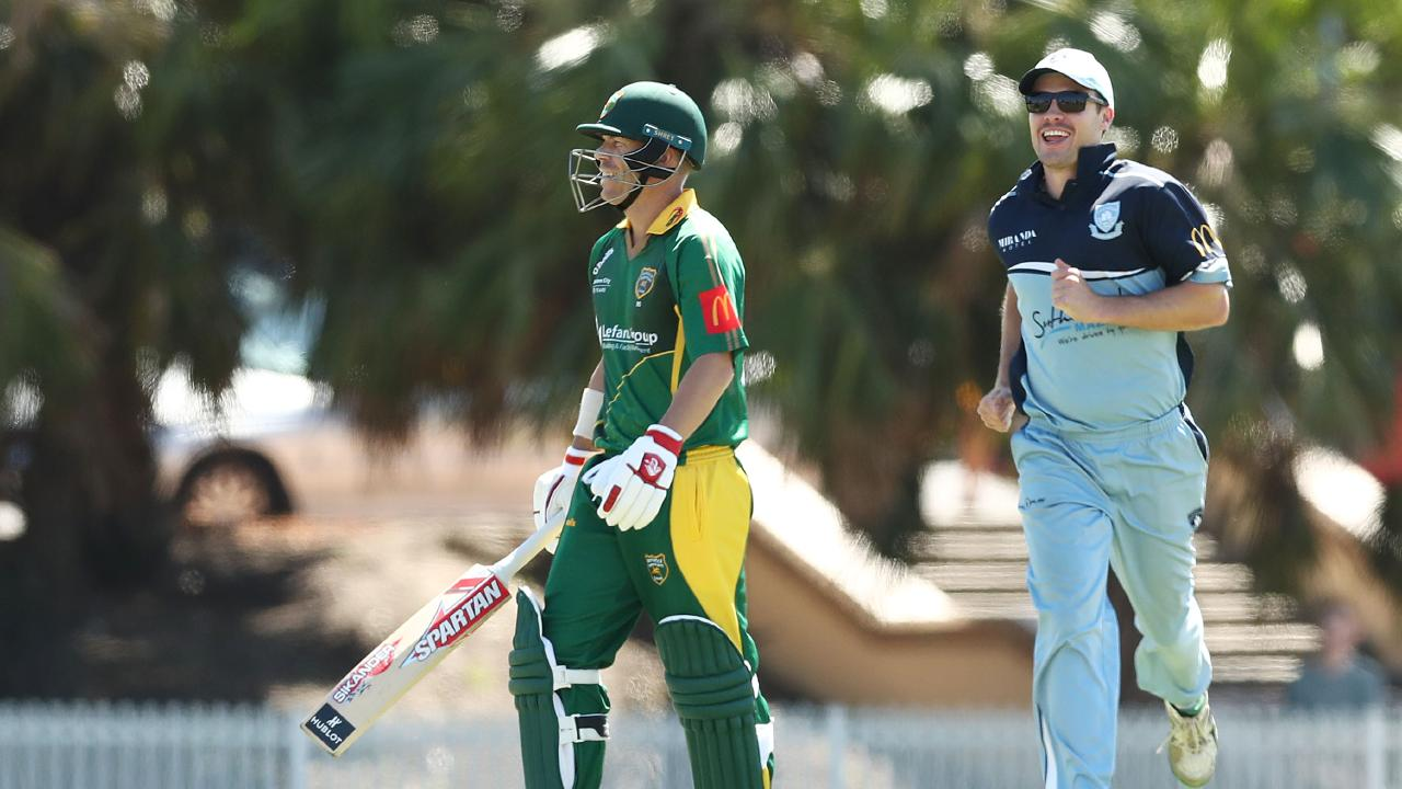 David Warner walks from the field after being dismissed during the Sydney Grade Cricket one-dayer between Randwick-Petersham and Sutherland at Coogee Oval on Saturday. Picture: Mark Metcalfe/Getty Images