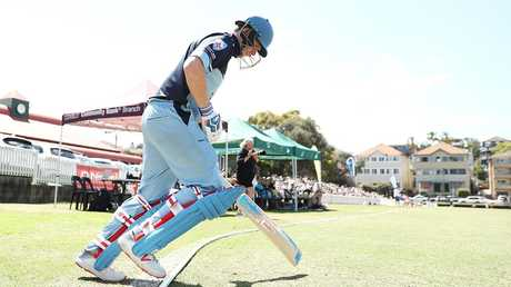 Steve Smith on his way out to bat for Sutherland. Picture: Mark Metcalfe/Getty Images